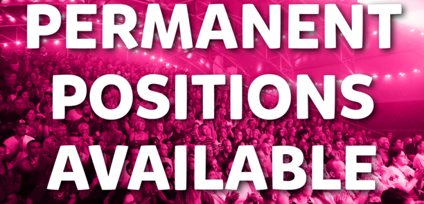 """People sitting at the Fringe festival with text over the image saying """"permanent positions available"""